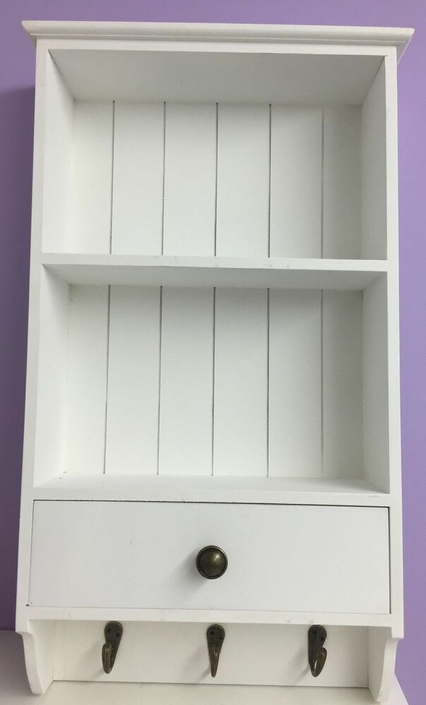 Wall Unit Cupboard Display White storage wooden Shelf With