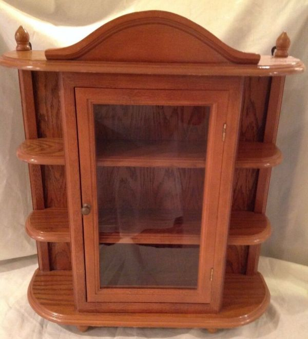 Vintage Large Wood Display Case Table Wall Hang Glass Door Curio Cabinet Shelf