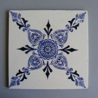 Antique Victorian ceramic tile Vintage by Lusitania #675 ...