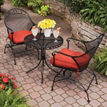 Patio Furniture Set Red 3 Piece Outdoor Bistro Table Chair