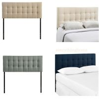 KING FABRIC HEADBOARD BUTTON TUFTED UPHOLSTERED BEIGE