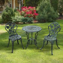 3pc Bistro Set Table Chairs Patio Furniture Garden Seat