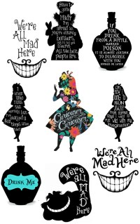 ALICE IN WONDERLAND QUOTES WERE ALL MAD HERE WALL STICKER ...