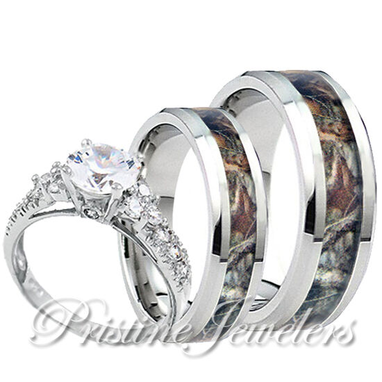 Womens 925 Sterling Silver Ring Mens Titanium Mossy Forest