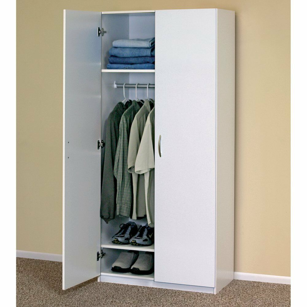 WHITE WARDROBE CABINET Clothing Closet Storage Modern