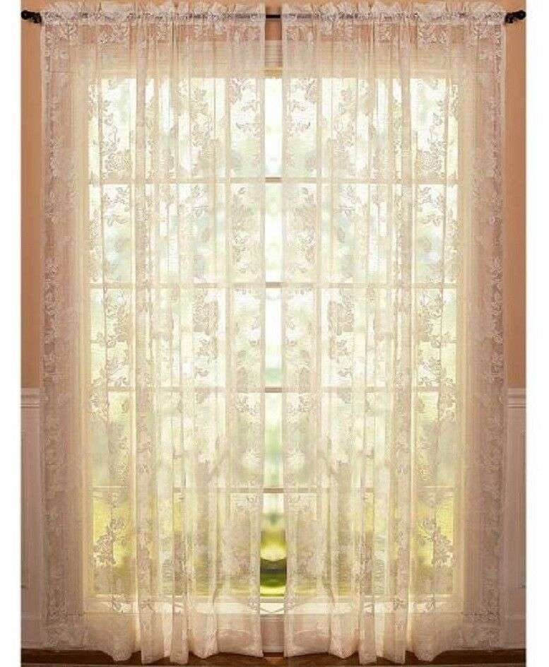 Vintage Lace Curtains Abbey Rose Swags or Panels Country