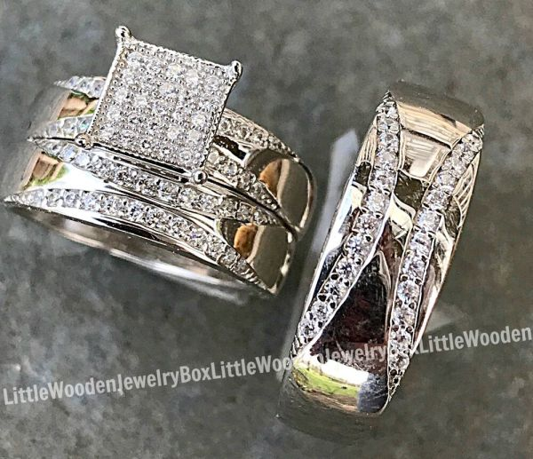 And Real Sterling Silver Engagement Ring Wedding Band Set Mens Womens