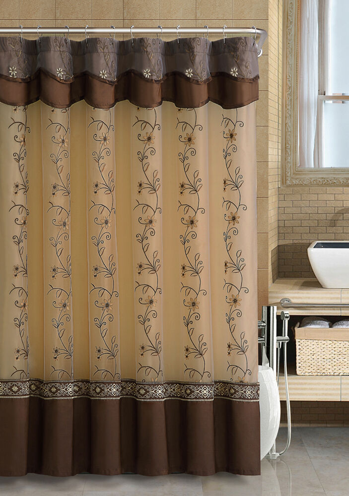 Chocolate Brown Fabric Shower Curtain 2Layered Embroidered Attached Valance  eBay