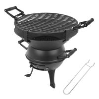 PORTABLE CAST IRON FIRE PIT CHARCOAL BBQ GRILL GARDEN
