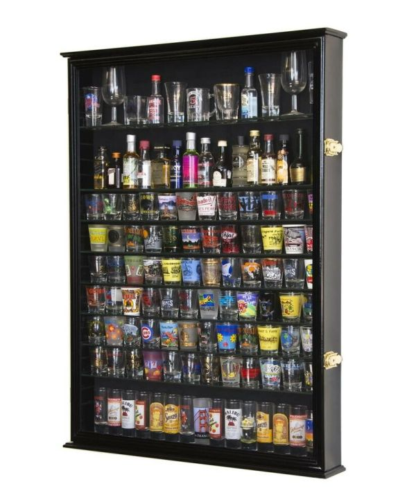 Shot Glass 84 Shooter Figures Mini Liquor Display Case Cabinet Wall Rack