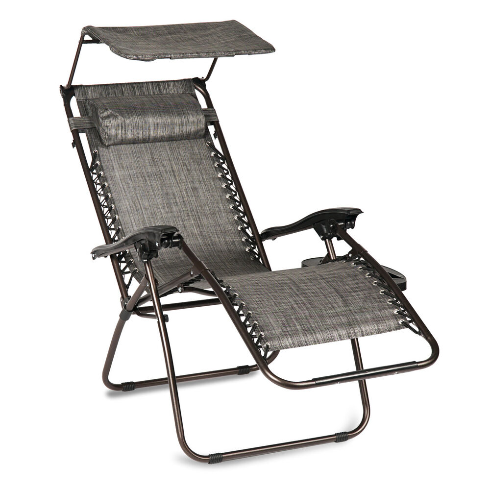 Gravity Lounge Chair Folding Zero Gravity Lounge Chair W Canopy Cup Holder Brown Beige And Gray Ebay