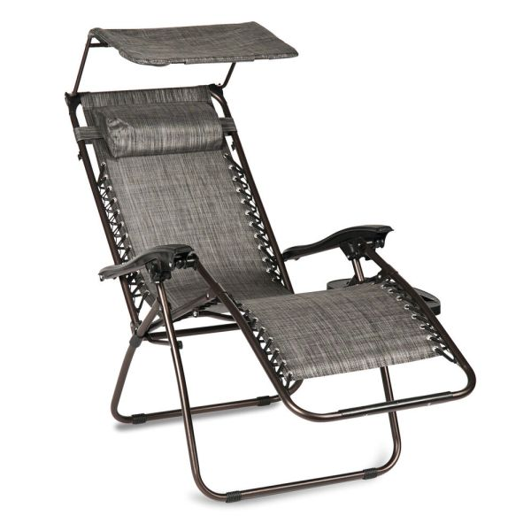 Folding Gravity Lounge Chair With Canopy Cup Holder Brown Beige And Gray
