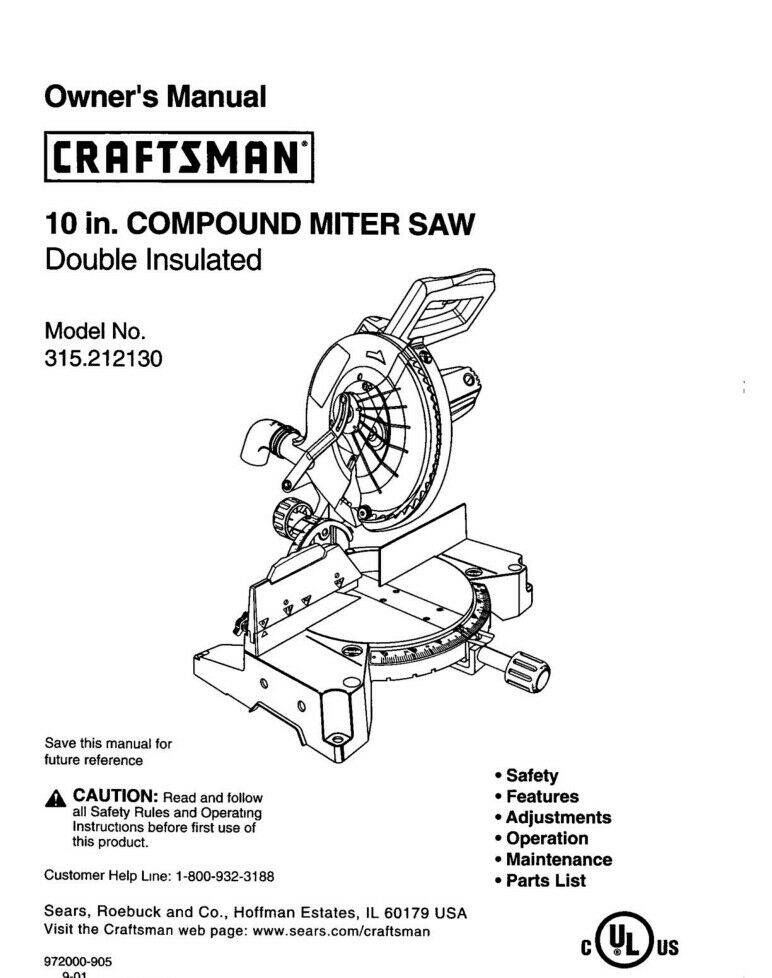 Craftsman 315.212130 Miter Saw Owners Instruction Manual
