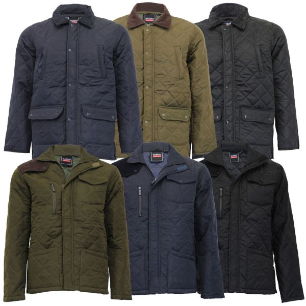 Mens Jacket Mareno Coat Padded Diamond Quilted Corduroy Zip Cord Casual Winter