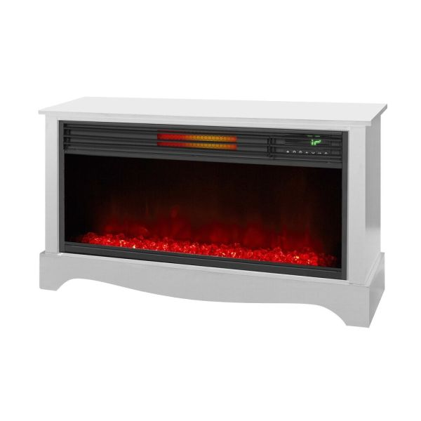Lifesmart Lifezone Electric Infrared Quartz Standing Fireplace Heater White 689744861780