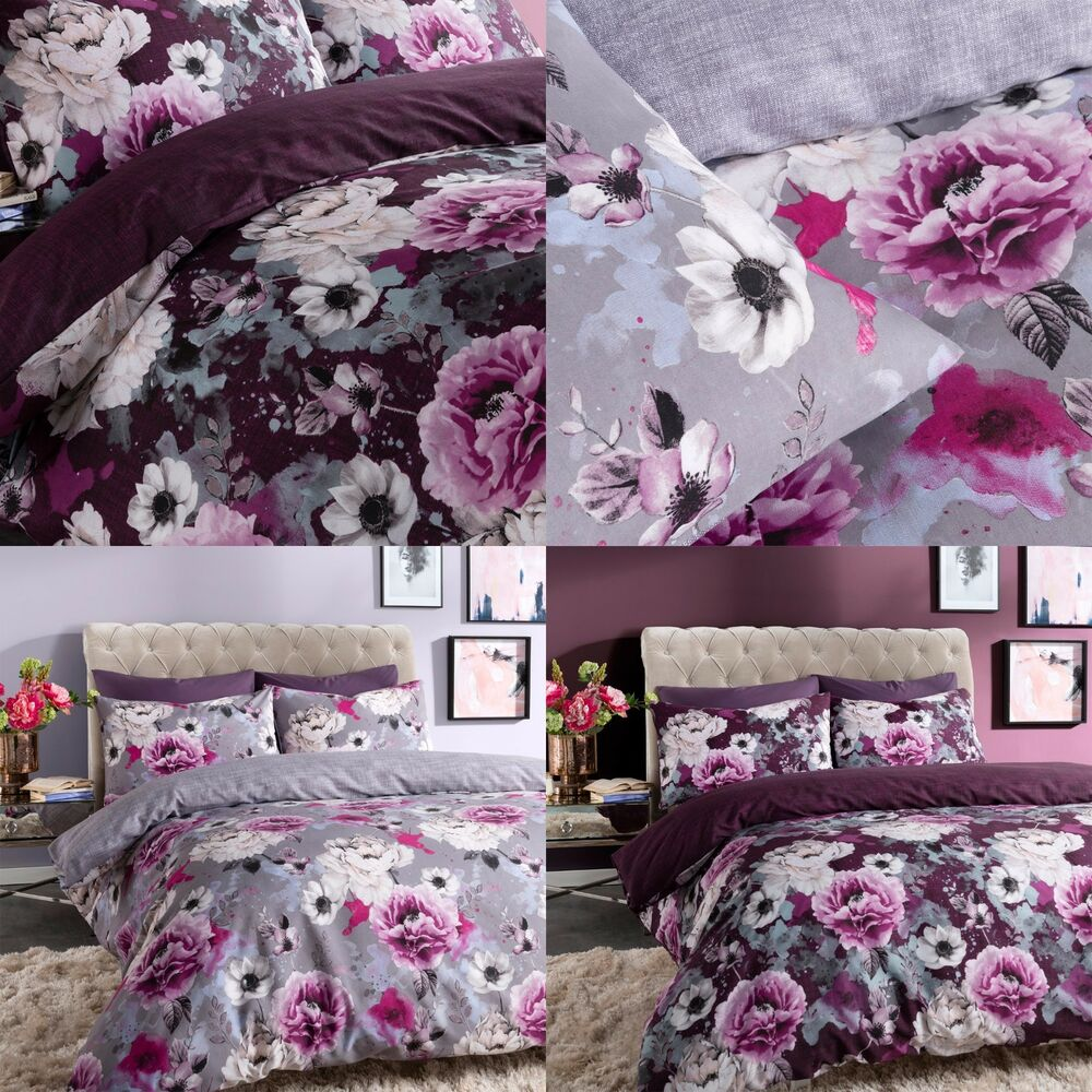 INKY FLORAL GREY Amp PURPLE DUVET COVER SINGLE DOUBLE KING Amp SUPERKING BEDDING SET EBay