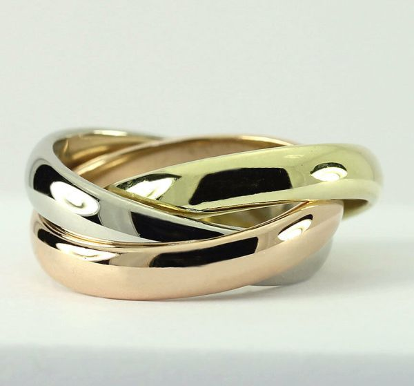Vintage Cartier Trinity 18k Tricolor Rose White Yellow