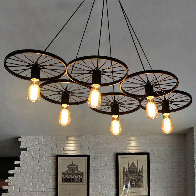 Chandelier Wagon Wheel Farmhouse Lighting Rustic Style