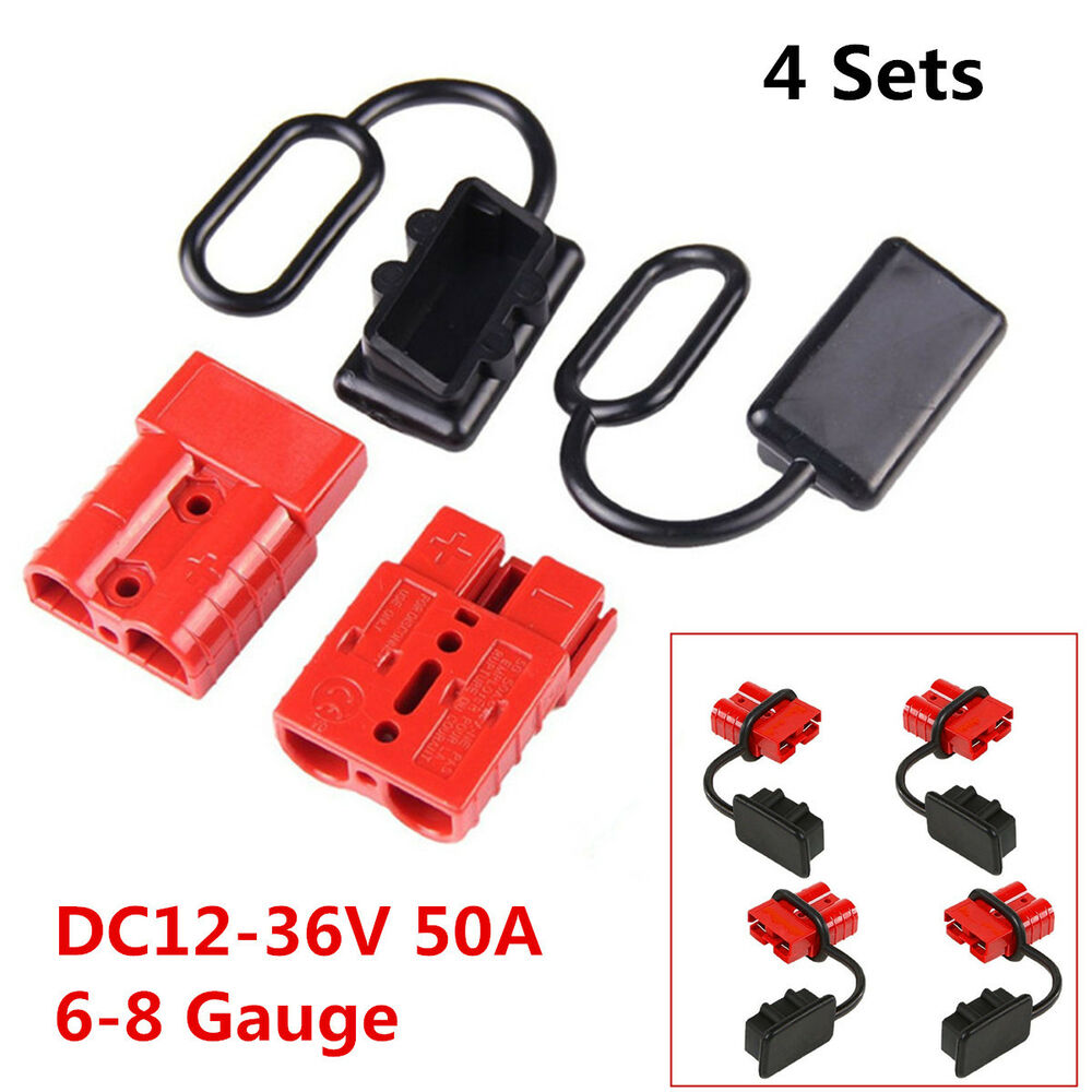 hight resolution of details about 4pcs 50a 6 8 gauge battery quick connect disconnect winch wire harness plug kit