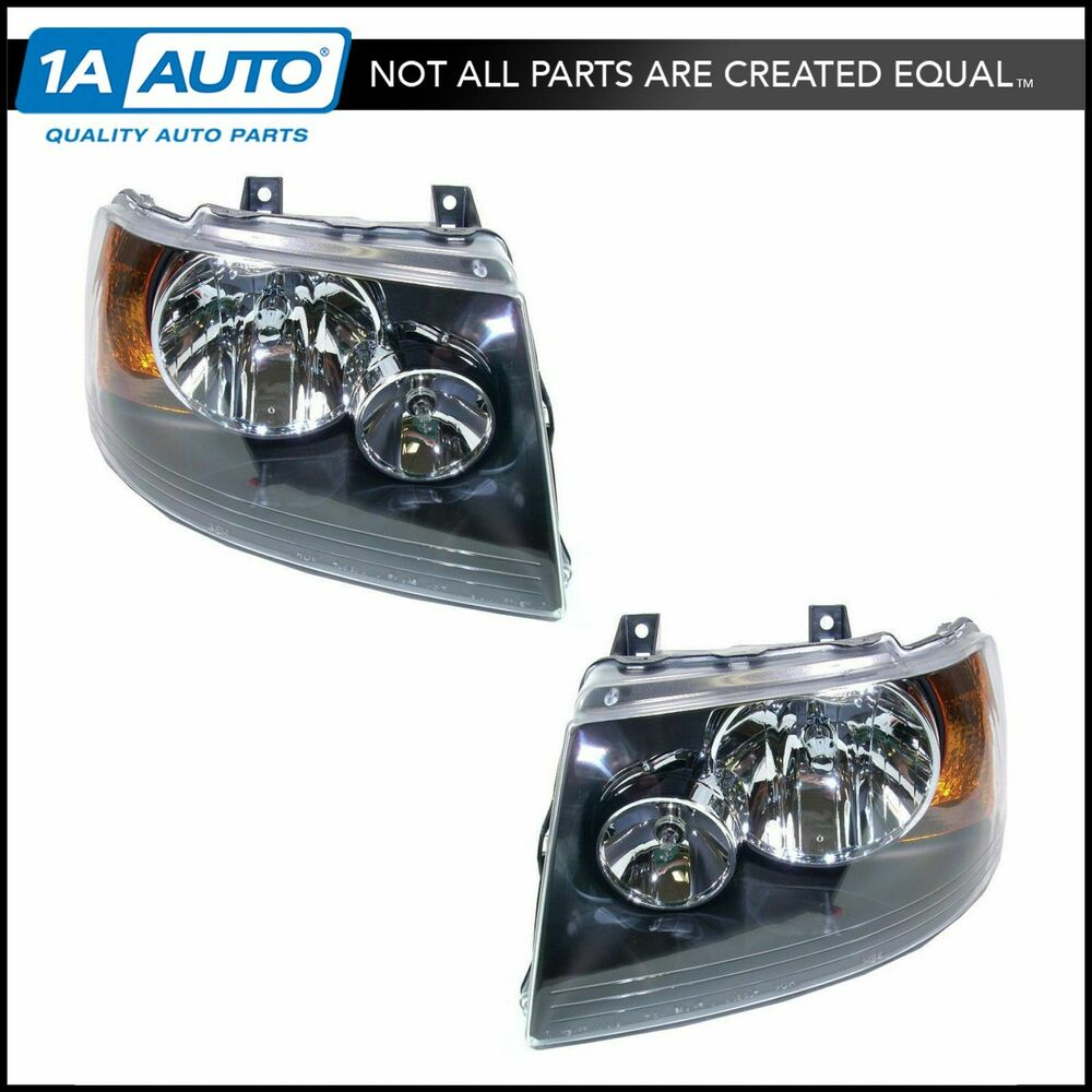 medium resolution of details about headlights headlamps w black bezel left right pair set for 03 06 expedition