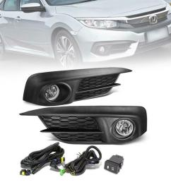 details about fit 2016 honda civic 1 set fog light with switch wire harness bulbs [ 1000 x 1000 Pixel ]