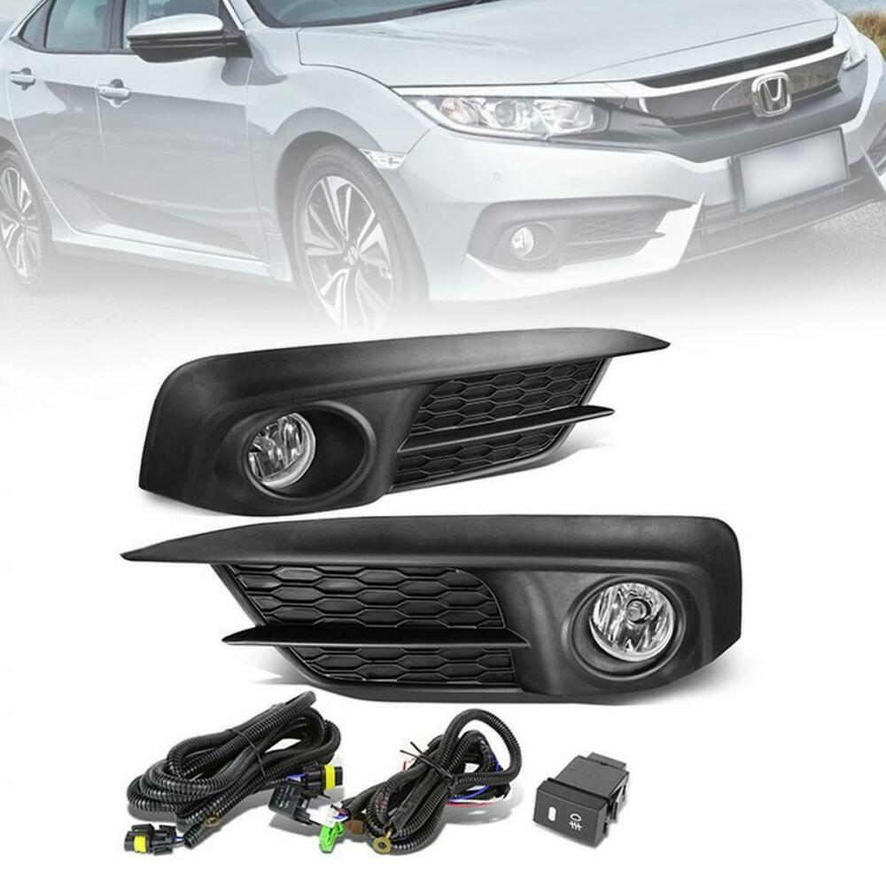 hight resolution of details about fit 2016 honda civic 1 set fog light with switch wire harness bulbs
