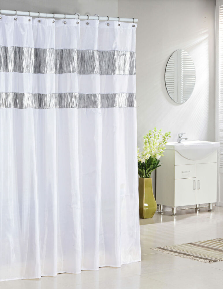 Pure White Fabric Shower Curtain with Silver Metallic Accent Stripes  eBay