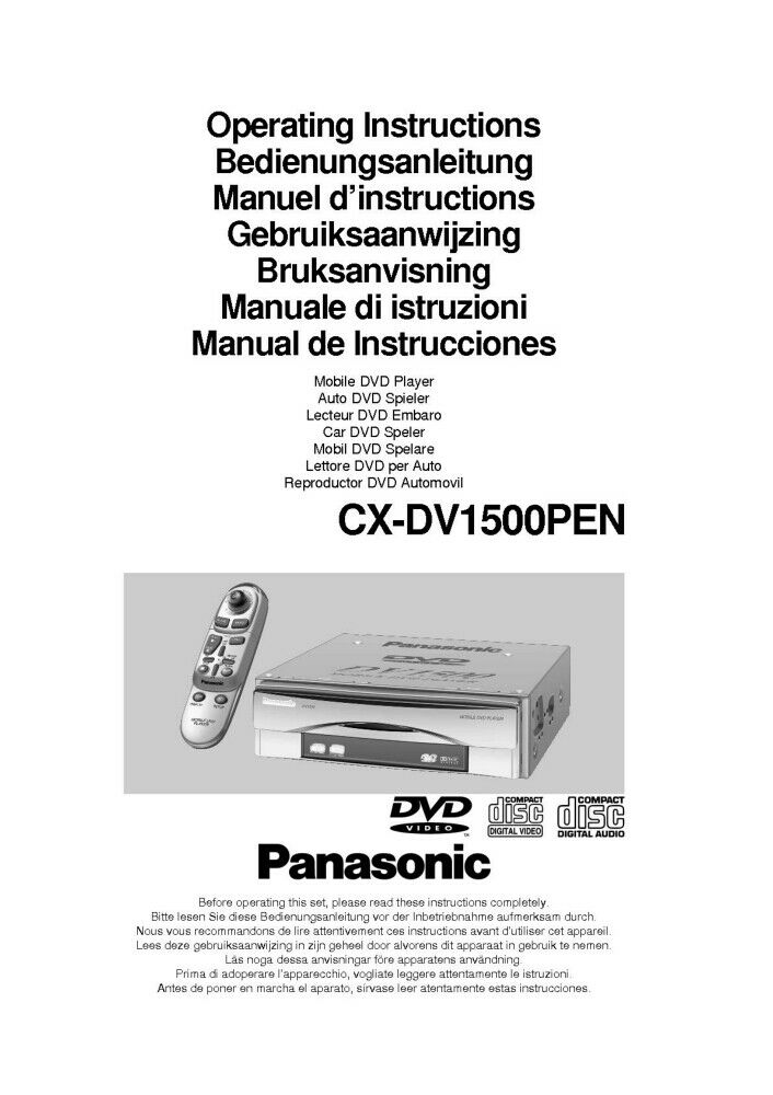Panasonic CX-DV1500PEN Blu-ray Player Owners Instruction