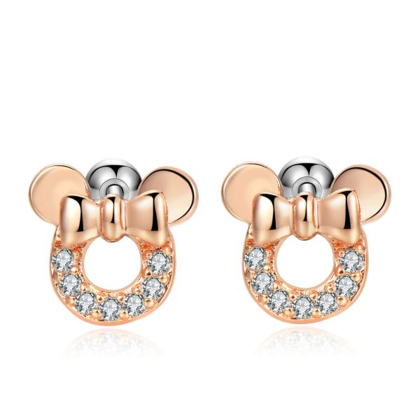 2pcs 18g Cubic Zirconia Cute Mouse Bow Earrings Safety Screw Kids Girls