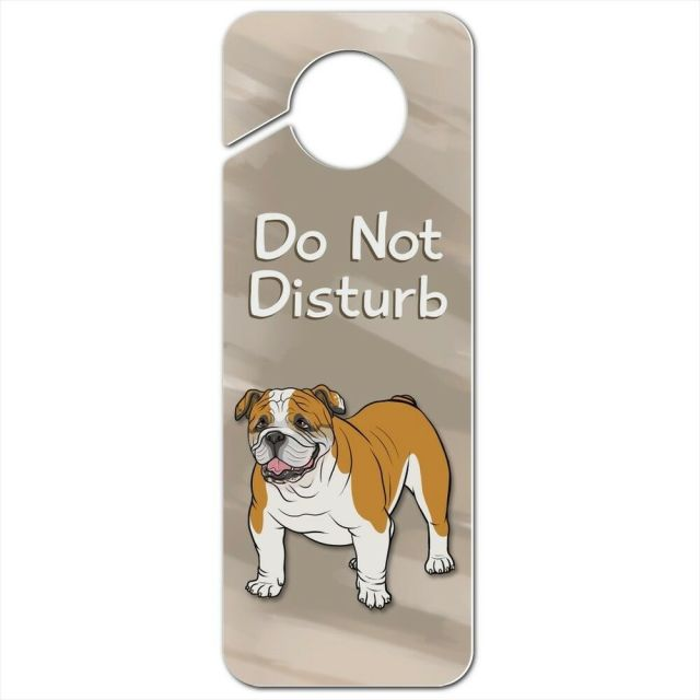 english bulldog pet dog plastic door knob hanger sign | ebay