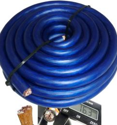 details about 20 ft 0 gauge blue car audio power ground wire cable 20 feet zero awg usa ship [ 1000 x 1000 Pixel ]