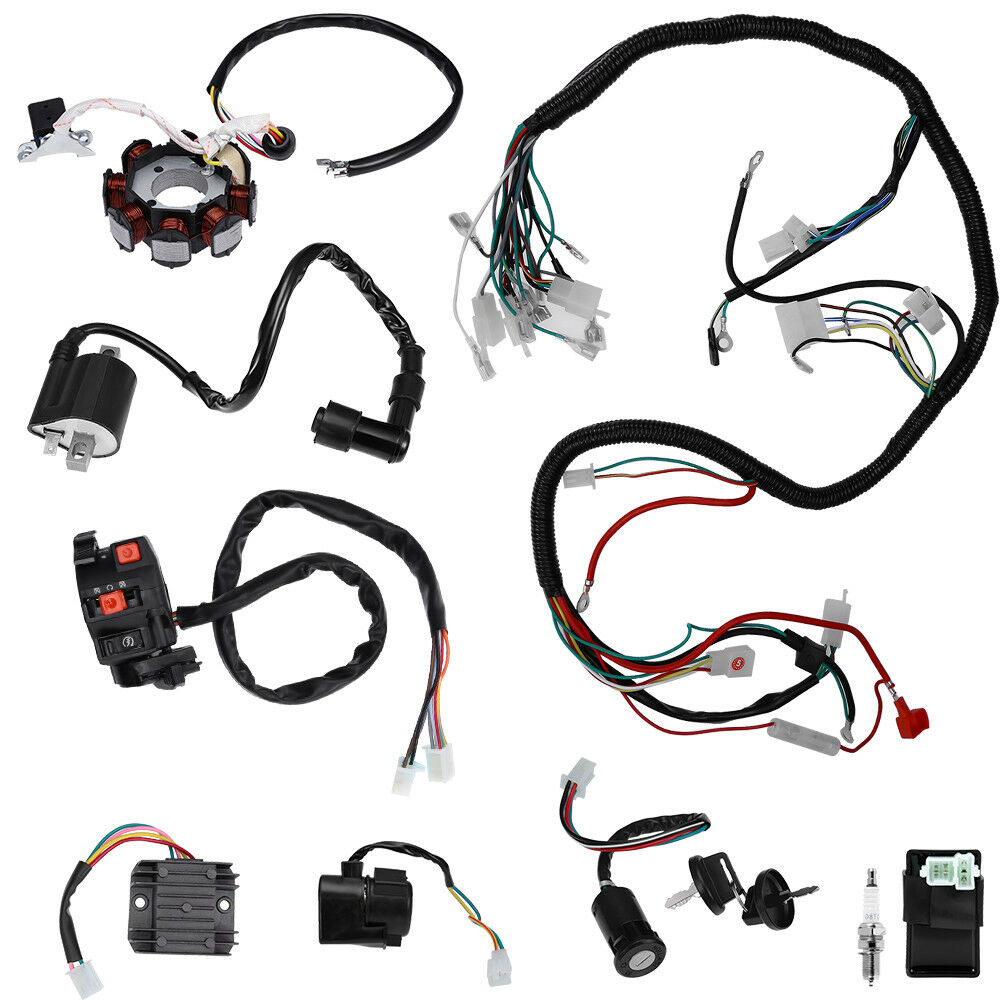 hight resolution of details about electrics wiring harness set for atv quad 150 200 250 300cc kawasaki stator cdi