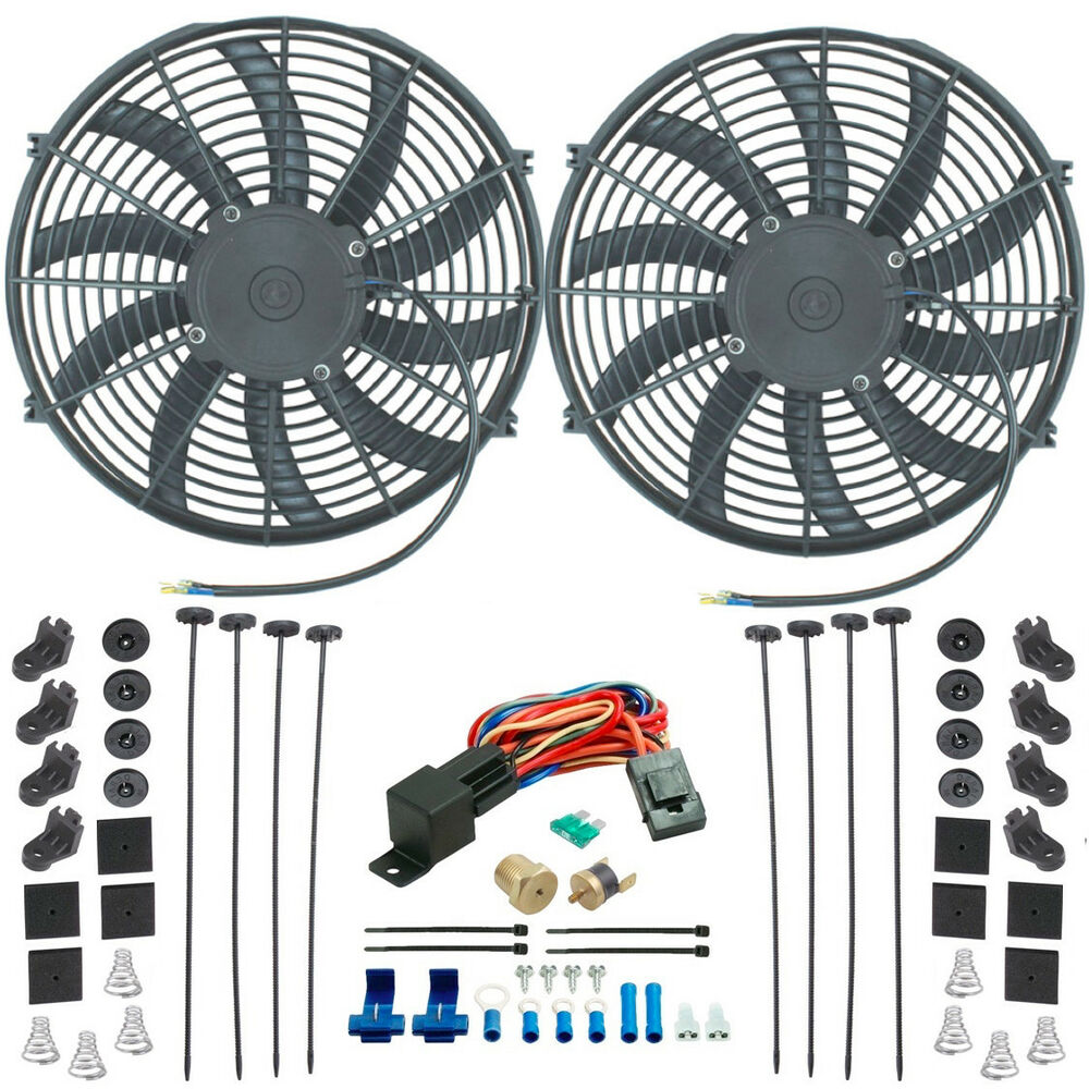 hight resolution of details about chevy dual 14 inch electric fan s radiator cooling 1 4 thermostat switch kit