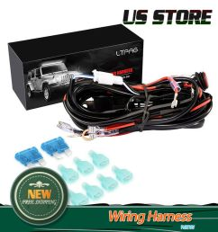 universal 4 lead led light bar wiring harness kit with fuse on off switch 300w [ 1000 x 1000 Pixel ]