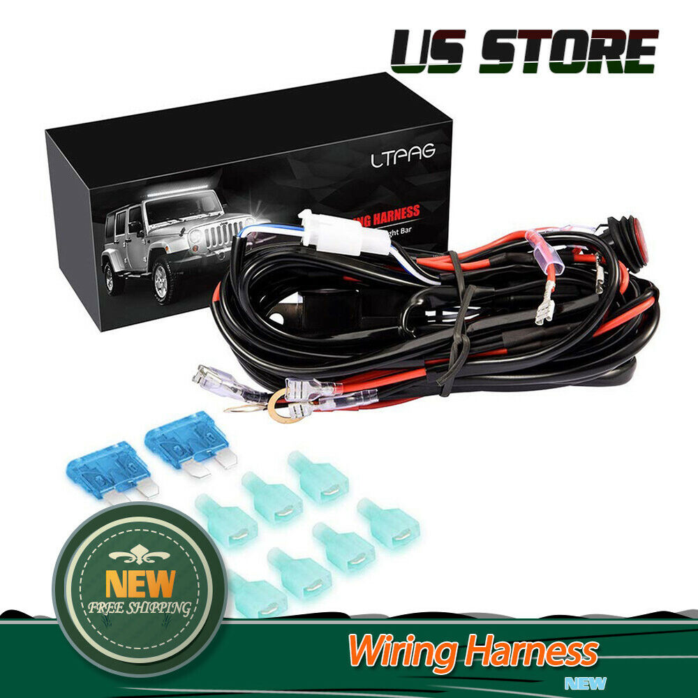 hight resolution of universal 4 lead led light bar wiring harness kit with fuse on off switch 300w