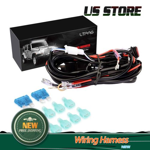 small resolution of universal 4 lead led light bar wiring harness kit with fuse on off switch 300w
