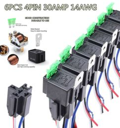 details about car relay switch harness waterproof 6x 4pin 12v 14awg wires 30amp fuse holder [ 1000 x 1000 Pixel ]
