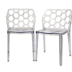 Transparent Polycarbonate Chairs Bathtub Chair For Babies 2 Clear Honeycomb Patio Dining Ghost Details About