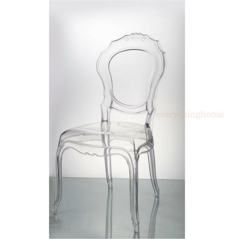 Clear Vanity Chair Clear Transparent Ghost Vanity Dining Side Chair French Baroque Polycarbonate Ebay