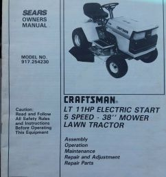 details about sears craftsman lt 11 riding lawn tractor mower owner parts manual 917 254230 [ 804 x 1000 Pixel ]