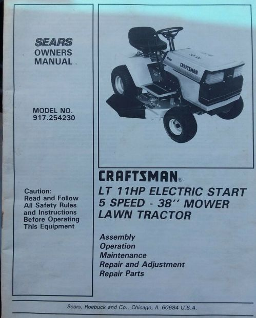 small resolution of details about sears craftsman lt 11 riding lawn tractor mower owner parts manual 917 254230