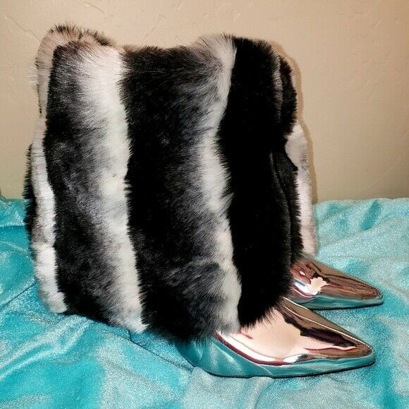 Custom Order Faux Chinchilla Fur Metallic Silver Bridal Wedding Ankle Booties | eBay