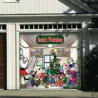 HUGE SANTA'S WORKSHOP GARAGE DOOR DECOR COVER 1 CAR | eBay