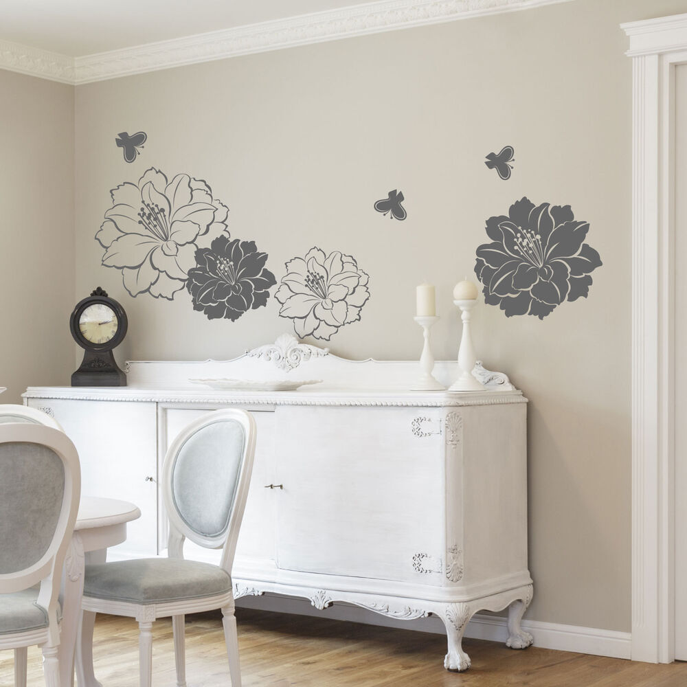 Large Flower Butterfly Wall Stickers  Wall Decals  eBay