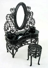 Black Wire Metal Makeup Vanity Chair 1:12 Doll's House ...