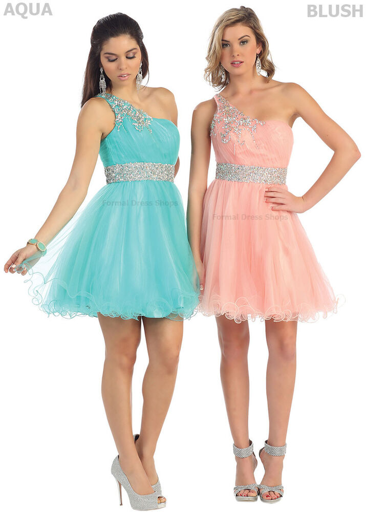 NEW ONE SHOULDER SHORT HOMECOMING QUEEN DRESSES SEMI