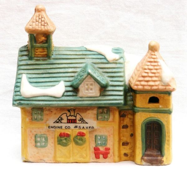 Ceramic Christmas Village House Fire Station Lighted