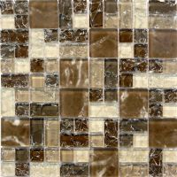 Natural Brown Crackle Pattern Glass Mosaic Tile Sample ...