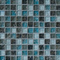 Sample- Blue Glass Mosaic Tile Crackle Kitchen Backsplash ...
