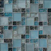 1-SF blue crackle glass mosaic tile Backsplash Kitchen ...